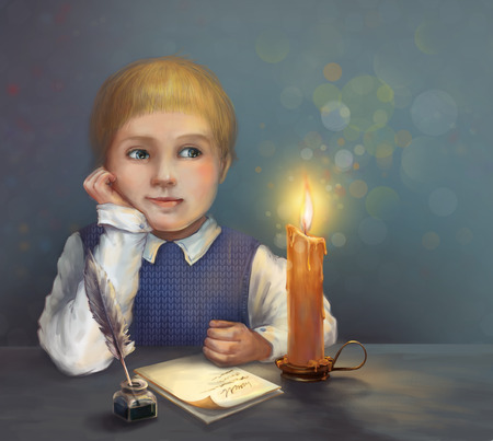 letter writing: Children39s dreams. Boy dreaming and writing a letter by candlelight. Stock Photo