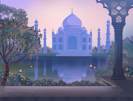 love dome: India. Taj Mahal. Agra. Garden with a pond.
