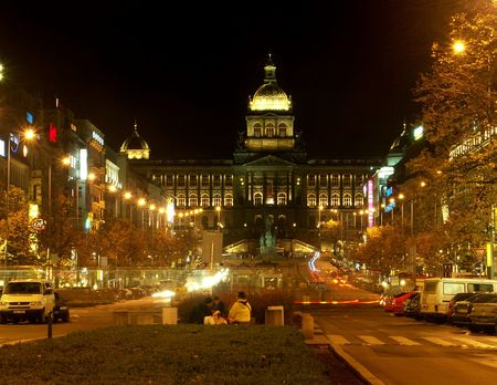 Prague Wenceslas Square and National Museum in night