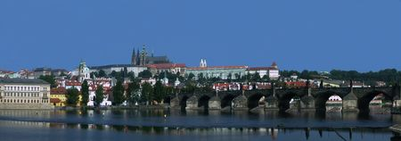 vltava: Prague castle on the Vltava Stock Photo