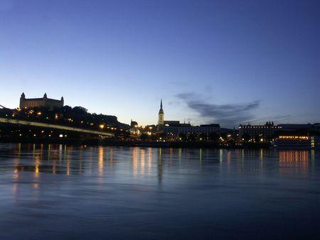 bratislava: Bratislava -  evening panorama Stock Photo