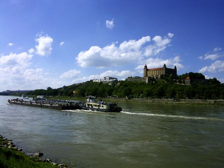 Bratislava castle and ships on the River Danube