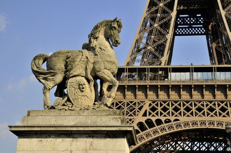 The Eiffel tower - horse sculpture  Stock Photo - 3208876