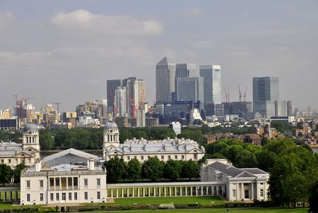 Greenwich, London with CBD in background