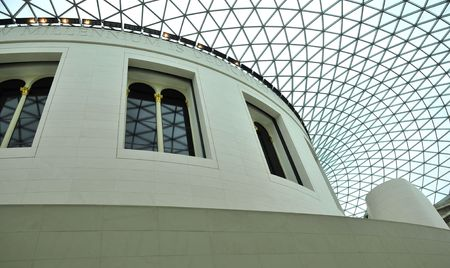glass ceiling: Glass Ceiling and Interior of British Museum, London, UK