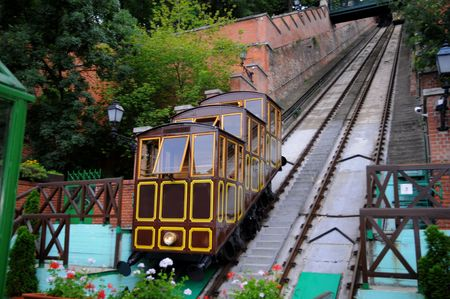 Old finicular in Budapest - Trams running through central europe Stock Photo
