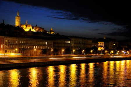 nightime: View over Budapest facing towards the Fish Bastion at nightime Stock Photo