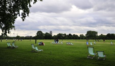 hyde: Deckchairs in Hyde park, London.