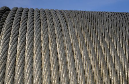 A piece of a cable-car galvanized steel cable.- Six strand rope Stock Photo - 4789141