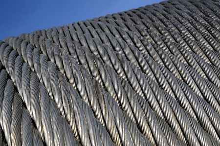 A piece of a cable-car galvanized steel cable - Six strand rope. photo