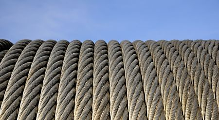 A piece of a cable-car galvanized steel cable. - Six strand rope Stock Photo - 4789143