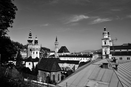 &A view of the old district of the city of Salzburg in Austria ( B&W) photo