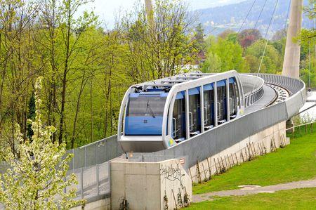 Railway funicular - bridge over the Inn in Innsbruck Stock Photo