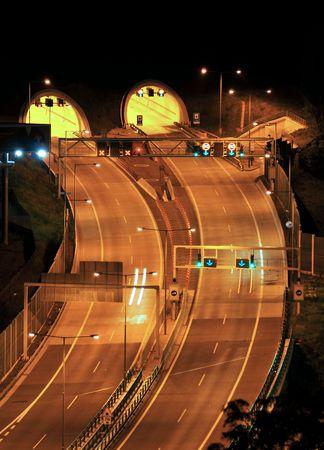Night motorway - double tunnel photo