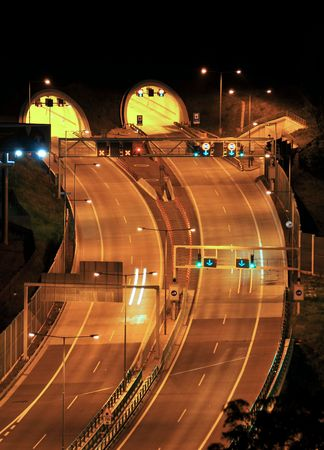 Night motorway - double tunnel Stock Photo