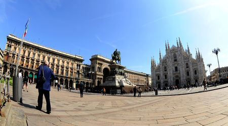 View of cathedral Doumo of Milan - view from    photo