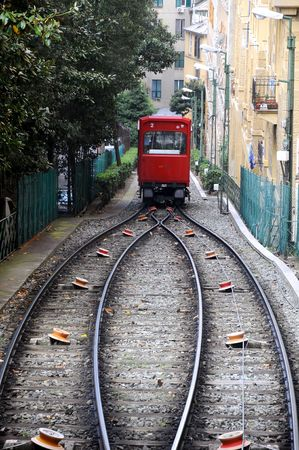 turnout: Genova - funicular with Abtsche Turnout Stock Photo