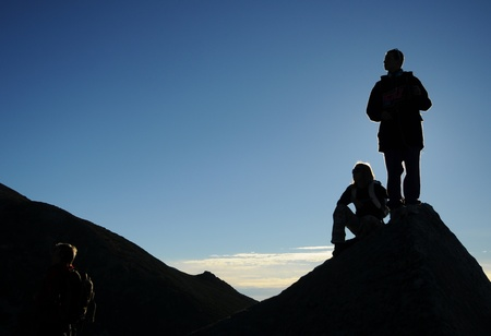 Silhouette of hiker in the sunrise