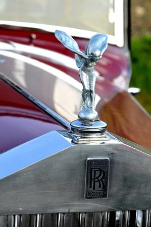 Oldtimer Rallye Tatry - International race, Slovakia -August 2009:Rolls-royce auto badge on the bodywork of a vintage Rolls-Royce 2525 vehicle.