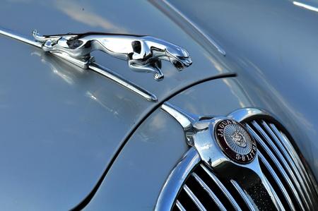 jaguar: Coche antiguo Rallye Tatry - carrera internacional, Eslovaquia-insignia de auto 2009:Jaguar de agosto en la carrocer�a de un veh�culo de Jaguar cosecha. Editorial