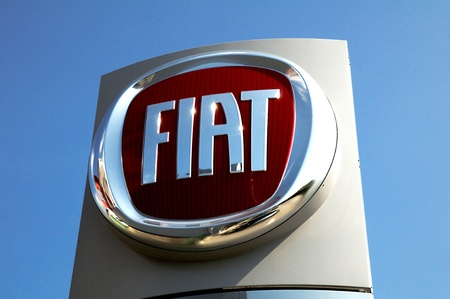 Liptovský Mikuláš,Slovakia-April 2011:Fiat logo  . Fiat Automobiles S.p.A. is an Italian automaker which produces Fiat branded cars, and is the largest automobile manufacturer in Italy.