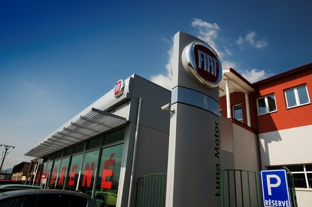 Liptovský Mikuláš,Slovakia-April 2011:Fiat Shop  . Fiat Automobiles S.p.A. is an Italian automaker which produces Fiat branded cars, and is the largest automobile manufacturer in Italy.