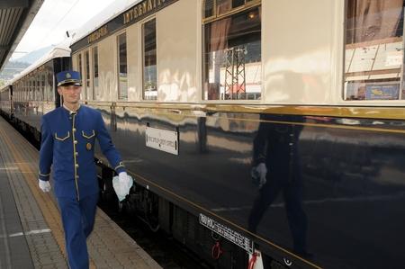 innsbruck,austria,may 2011:the venice simplon-orient-express in innsbruck - steward