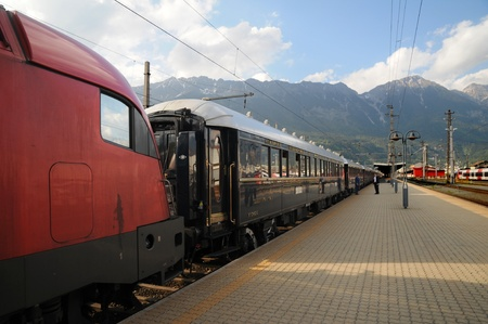 innsbruck,austria,may 2011:the venice simplon-orient-express in innsbruck Stock Photo - 9538735