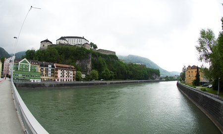 pictoresque: kufstein,austria - may 2011: fortress over river Inn