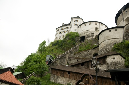 backstreet: kufstein,austria - may 2011:elevator to the castle fortress Editorial