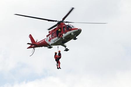 aiport poprad,slovakia august 2011:slovac international air fest Poprad 2011 -Rescue helicopter Agusta A109 K2 Air transporte europe