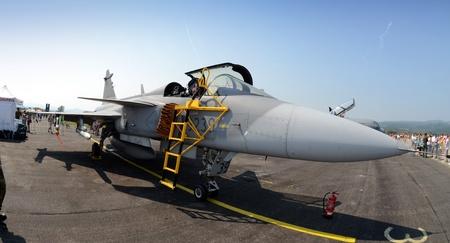 ejector: aiport sliac,slovakia august 2011:slovac international air fest siaf 2011-Czech Gripen Fighters in NATO Tiger Meet
