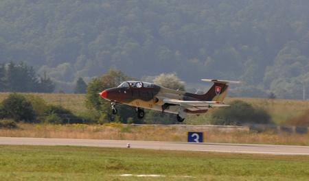ejector: aiport sliac,slovakia august 2011:slovac international air fest siaf 2011-L-29 delfin  slovak air force Editorial