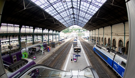 rails: train station Lyon ,French august 2011:TGV Trains at Paris Gare de Lyo