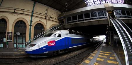 train station Lyon ,French august 2011:TGV Trains at Paris Gare de Lyo
