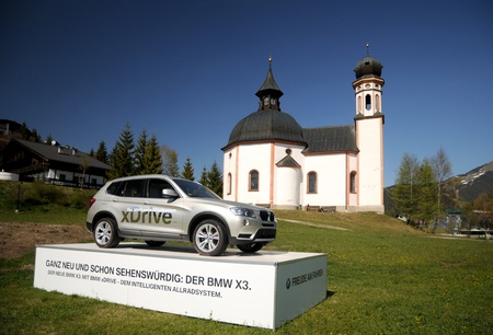 pneu: Exposition BMW X3 at the Olympic site in Seefeld - Austria  may 2010