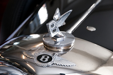 Classic handcrafted bently with the famous winged emblem  mascot in Rols Royce museum -Dornbirn Austriarnhttp:Austria May 2010