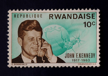 Green John F  Kennedy Republique Rwandaise stamp at 10 cents  Stock Photo - 13072620