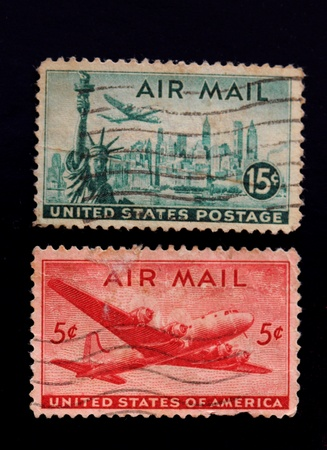 high scale magnification: A collection of vintage US Air Mail Stamps 15 cents Vintage Statue of Liberty USA and Airmail stampand 5 cents