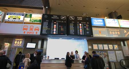 Krakow, Poland - April 2012:Airport Departures Board in Krakow airport  Stock Photo - 13256787