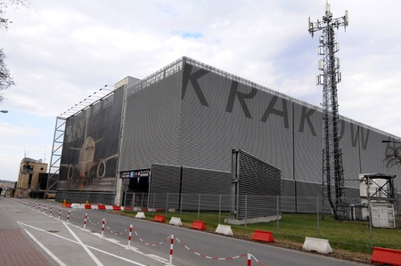 Krakow, Poland - April 2012:   Garage house for the airport in Krakow Stock Photo - 13256795