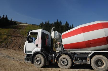 Concrete trucks on the ground