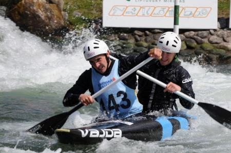 Liptovsky Mikulas - Slovakia Mai 2012: Canoeist in international racing  Editorial
