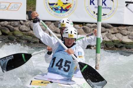 Liptovsky Mikulas - Slovakia Mai 2012: Canoeist in international racing  Editorial