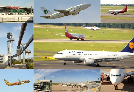 D?ldorf Germany August 2012:D?ldorf international - airport collage