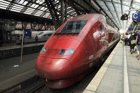 eurostar: Cologne Germany august 2012:High-speed railway Thalys in Cologne Editorial