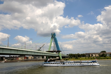 steelwork: Cologne Germany august 2012:Severinbridge - renovation of steelwork and cables  ( K?)