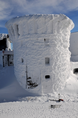 Frozen at the top of the rotunda building in Tatra Mountains - slovakia  photo