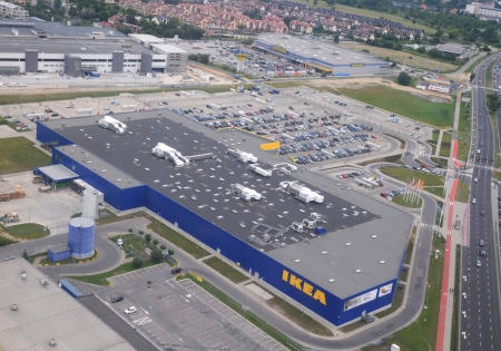 superstore: Cracow Poland Juni 2013 Aerial view of Ikea superstore in Krakow