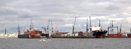 tosses: Hamburg Germany July 2013:Docka in the largest port in Germany - Hamburg Editorial
